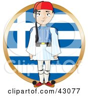 Clipart Illustration Of A Proud Greek Evzone Standing Tall In Front Of A Greek Flag by Maria Bell