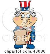 Clipart Illustration Of Uncle Sam Holding A Cardboard Shipping Box by Dennis Holmes Designs