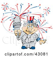 Clipart Illustration Of Uncle Sam As The Statue Of Liberty Holding The Torch In Front Of Fireworks