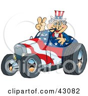 Uncle Sam Driving A Patriotic Roadster And Giving The Peace Sign