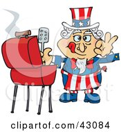 Clipart Illustration Of Uncle Sam Cooking On A Bbq Grill