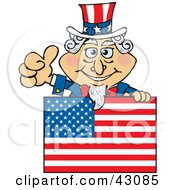 Clipart Illustration Of Uncle Sam Giving The Thumbs Up And Standing Behind A Flag