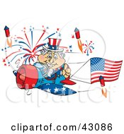 Clipart Illustration Of Uncle Sam Flying A Plane With A Flag Banner Surrounded By Independence Day Fireworks
