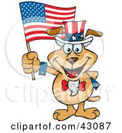 Clipart Illustration Of A Patriotic Uncle Sam Dog Waving An American Flag On Independence Day