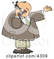 Businessman Talking On A Cellphone Clipart