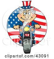 Clipart Illustration Of Uncle Sam Riding A Motorcycle In Front Of An American Flag by Dennis Holmes Designs