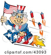 Uncle Sam Waving A Flag And Riding A Rocket On Independence Day