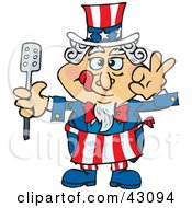 Clipart Illustration Of An Uncle Sam Chef Licking His Lips And Holding A Spatula