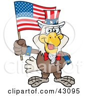 Clipart Illustration Of A Patriotic Uncle Sam Bald Eagle Waving An American Flag On Independence Day