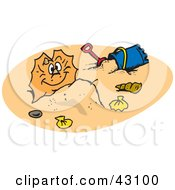 Clipart Illustration Of A Happy Frill Lizard Buried On A Sandy Beach by Dennis Holmes Designs