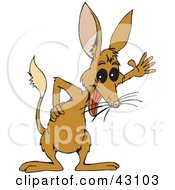 Clipart Illustration Of A Happy Brown Bilby Waving by Dennis Holmes Designs