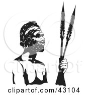 Black And White Aboriginal Man Holding Spears
