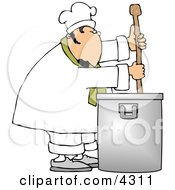 Male Chef Stirring A Large Pot Of Soup With A Spoon Clipart