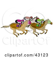 Clipart Illustration Of A Group Of Jockeys Racing On Their Horses by Dennis Holmes Designs