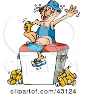 Clipart Illustration Of A Drunk Man Sitting On A Cooler And Drinking Beer