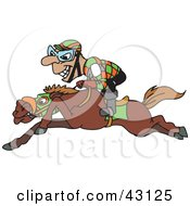 Clipart Illustration Of A Grinning Jockey Riding Low On Horseback