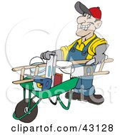 Clipart Illustration Of A Friendly Handy Man Pushing Tools In A Wheel Barrow