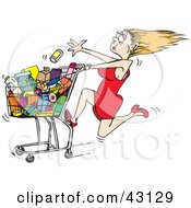 Clipart Illustration Of A Rushed Blond Woman Tossing Items Into Her Grocery Cart