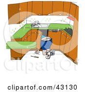 Clipart Illustration Of A Plumber Kneeling To Work On Pipes Under A Sink by Dennis Holmes Designs