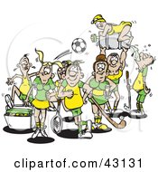Clipart Illustration Of A Group Of Athletes In Yellow And Green Uniforms