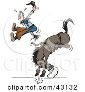 Clipart Illustration Of A Cowboy Suspended In Mid Air While Being Bucked Off Of His Rodeo Horse by Dennis Holmes Designs