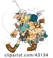 Clipart Illustration Of A Stinky Hiker Carrying Camping Gear And A Walking Stick