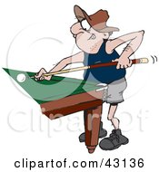 Clipart Illustration Of A Man Leaning Against A Pool Table And Playing A Billiards Game by Dennis Holmes Designs