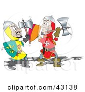 Clipart Illustration Of A Battle Between Two Knights With Axes by Dennis Holmes Designs