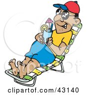 Clipart Illustration Of A Man Wearing Shades And Drinking A Cocktail While Lounging