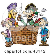 Clipart Illustration Of A Pirate Family Eating Steak And Hot Dogs At A Bbq by Dennis Holmes Designs