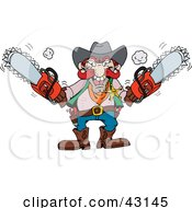 Clipart Illustration Of A Mad Man Holding Two Red Chainsaws by Dennis Holmes Designs #COLLC43145-0087