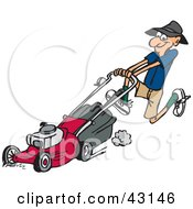 Clipart Illustration Of A Hyper Man Running And Pushing A Red Lawn Mower