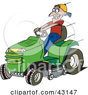Clipart Illustration Of A Man Driving A Fast Green Riding Lawn Mower by Dennis Holmes Designs #COLLC43147-0087