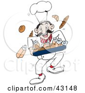 Clipart Illustration Of A Happy Baker Running With Breads by Dennis Holmes Designs