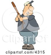Angry Male Baseball Batter Holding The Bat Aggressively And Getting Ready To Swing At The Ball Clipart