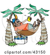 Clipart Illustration Of A Man Grabbing Beer From A Cooler Under His Hammock