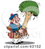 Clipart Illustration Of A Scottish Man In A Kilt Carrying A Tree by Dennis Holmes Designs