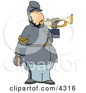 American Civil War Soldier Blowing Into A Bugle Horn Clipart