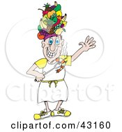 Clipart Illustration Of A Chef Wearing A Fruit Hat And Holding A Bbq Shrimp On A Fork