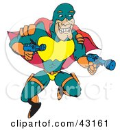Clipart Illustration Of A Flying Super Hero In Green Orange Red And Yellow Holding Two Guns by Dennis Holmes Designs