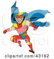 Clipart Illustration Of A Flying Super Hero In A Blue Yellow And Red Uniform Holding A Gun by Dennis Holmes Designs