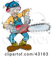 Clipart Illustration Of A Tree Trimmer Starting Up His Chainsaw