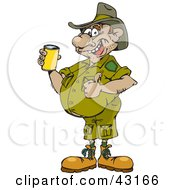 Clipart Illustration Of A Man In A Green Uniform Giving The Thumbs Up And Drinking Beer by Dennis Holmes Designs