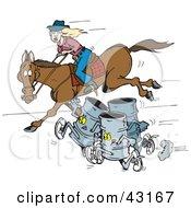 Clipart Illustration Of Three Barrels Racing A Woman On A Horse