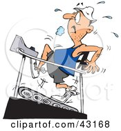 Clipart Illustration Of A Sweaty Man Running On A High Incline On A Treadmill by Dennis Holmes Designs
