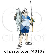 Clipart Illustration Of A Proud Angler Holding Up His Catch by Dennis Holmes Designs