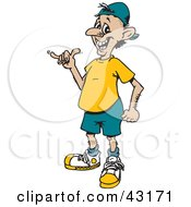 Clipart Illustration Of A Cool Man Giving The Hang Loose Shaka Hand Gesture by Dennis Holmes Designs
