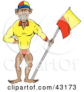 Clipart Illustration Of A Professional Swimmer Or Bodybuilder Holding A Flag