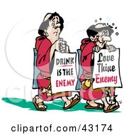 Clipart Illustration Of Two Monks Walking With Boards Reading Drink Is The Enemy And Love Thine Enemy