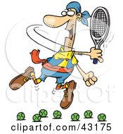 Clipart Illustration Of A Motivated Man Trying To Hit A Tennis Ball Failing Over And Over Again by Dennis Holmes Designs